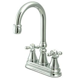 Classic 2-Handle Bar Faucet with Solid Handles in Polished Chrome