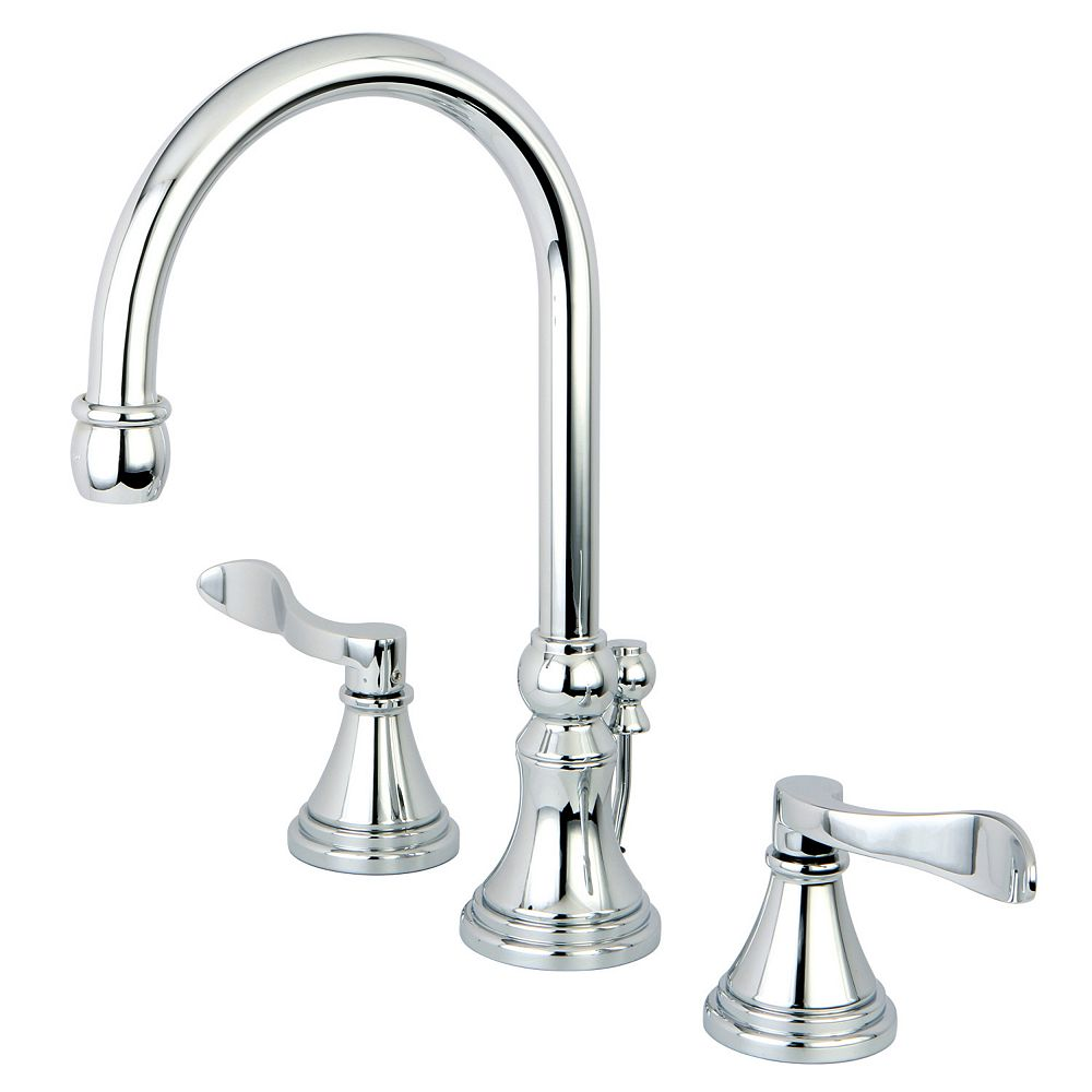 Kingston Brass French 8 in. Widespread 2-Handle High-Arc Bathroom Faucet in Polished Chrome