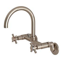 Modern Adjustable Center 2-Handle Wall-Mount Standard Kitchen Faucet in Satin Nickel
