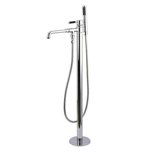 Kingston Brass Modern Single-Handle Floor-Mount Roman Tub Faucet with Hand Shower in Chrome