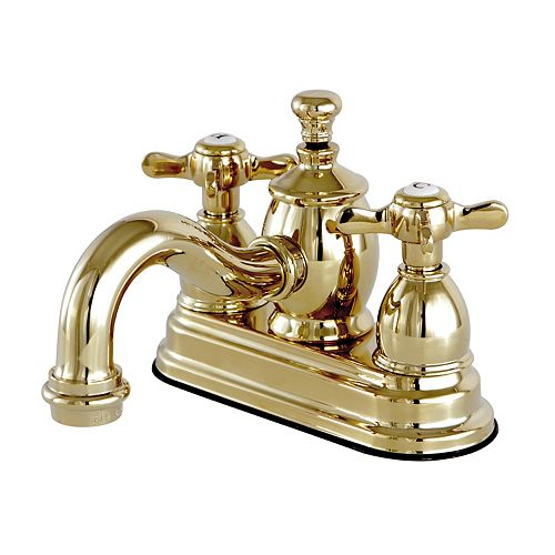 Kingston Brass French Cross 4 in. Centerset 2-Handle Mid-Arc Bathroom Faucet in Polished Brass