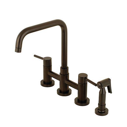 Kingston Brass Modern 2-Handle Bridge Kitchen Faucet with Side Sprayer in Oil Rubbed Bronze