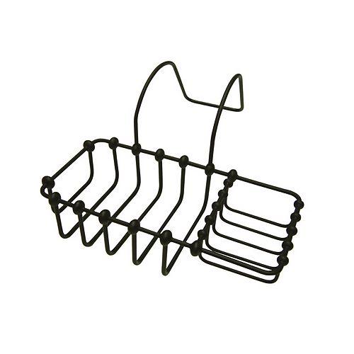 Porte-éponge et porte-savon pour baignoire sur pieds cambrés, bronze huilé