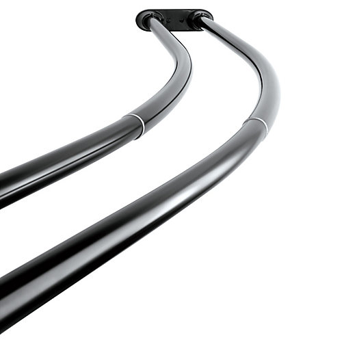 Vintage 60 to 72 in. Double Curved Shower Curtain Rod in Black