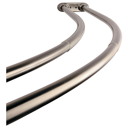 Vintage 60 to 72 in. Double Curved Shower Curtain Rod in Brushed Nickel