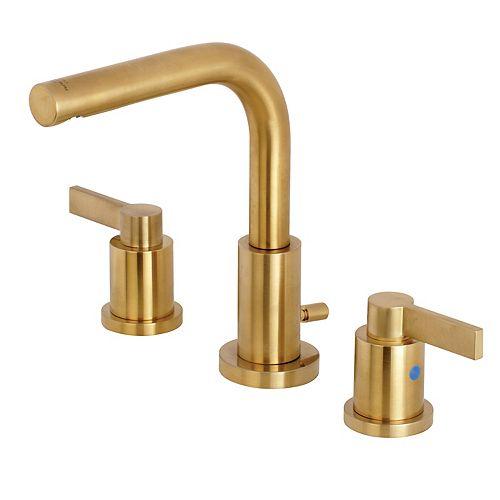 Kingston Brass Emilia 8 in. Widespread 2-Handle High-Arc Bathroom Faucet in Satin Brass