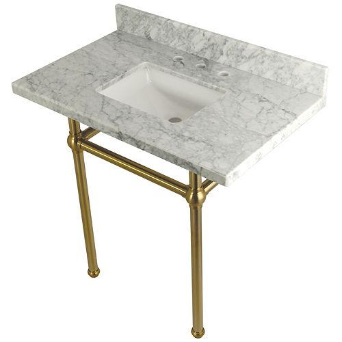 Square Sink Washstand 36 in. Console Table in Carrara with Metal Legs in Satin Brass