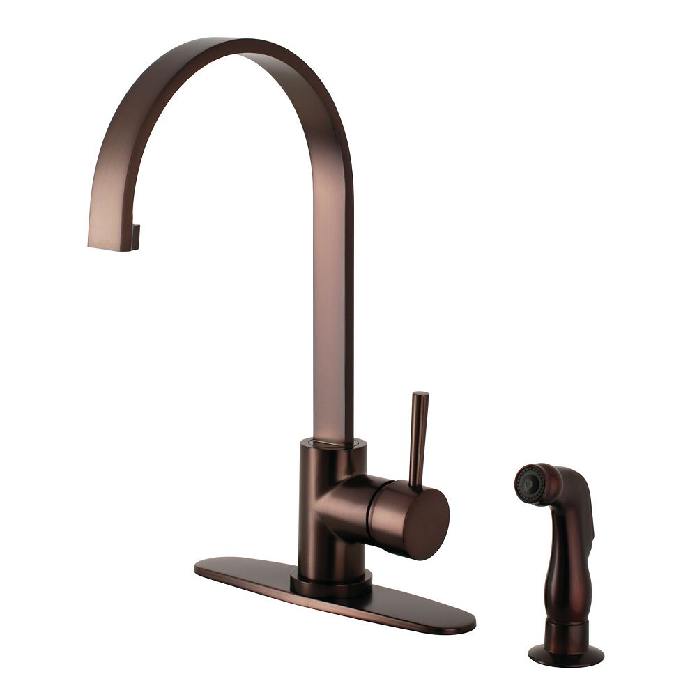 Kingston Brass Concord Single Handle Standard Kitchen Faucet With Side Sprayer In Oil Rubb The Home Depot Canada