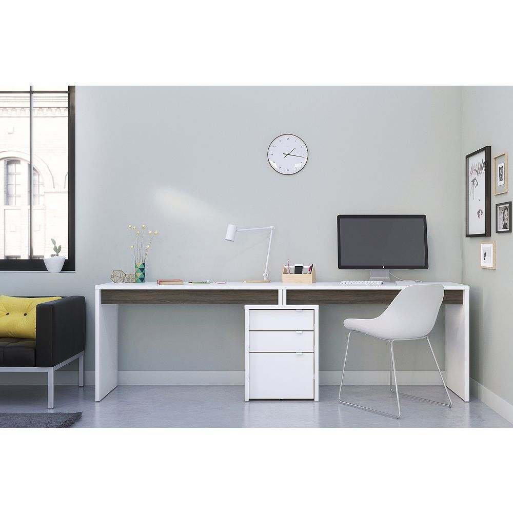 Nexera Chrono 3 Piece Home Office Kit, White and Grey