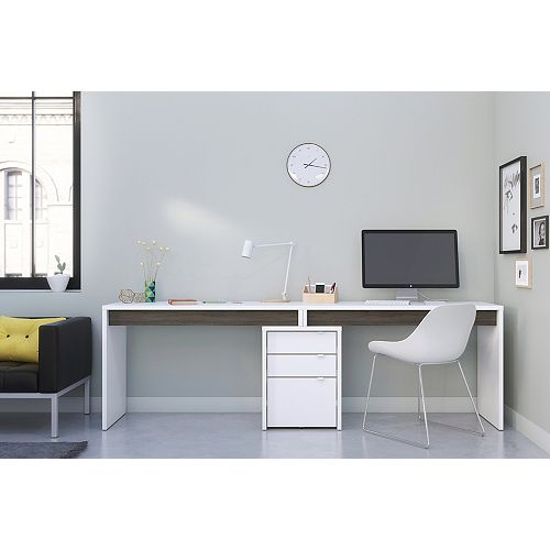 Chrono 3 Piece Home Office Kit, White and Grey