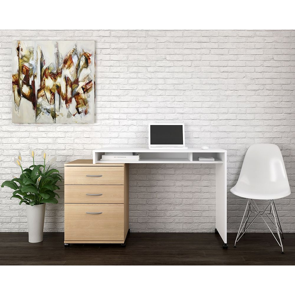 Nexera Essentials 2 Piece Home Office Kit  with 3 Drawer File Cabinet, Natural Maple and White
