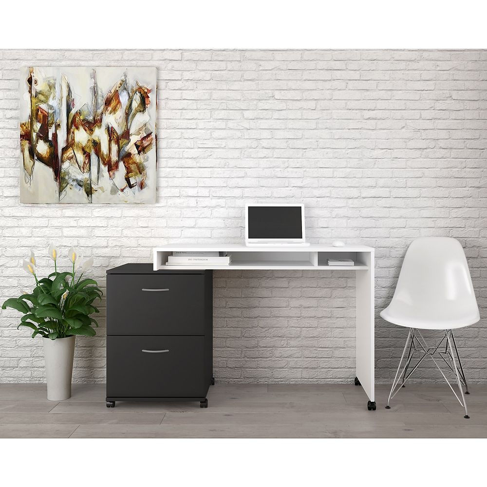 Nexera Essentials 2 Piece Home Office Kit with 2 Drawer File Cabinet, Black