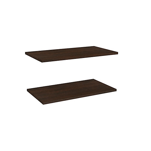 Impressions 25 in. Standard Extra Shelves in Chocolate (2 Pack)