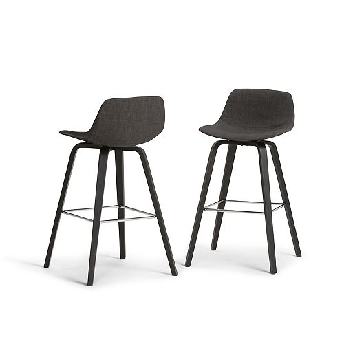 Randolph Mid Century Modern Bentwood Counter Height Stool (Set of 2) in Charcoal Grey, Black  Fabric