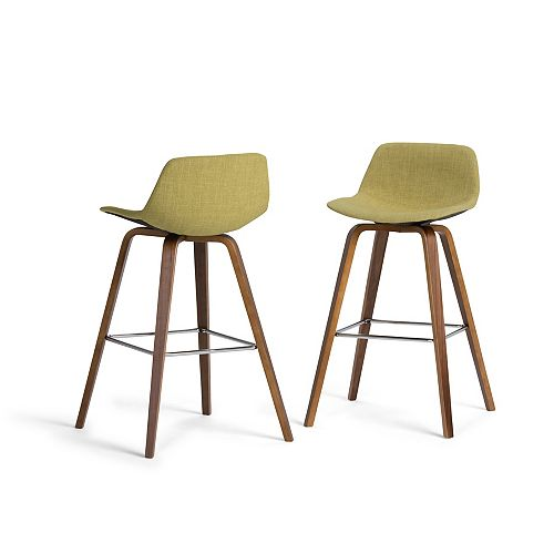 Randolph Mid Century Modern Bentwood Counter Height Stool (Set of 2) in Acid Green Linen Look Fabric