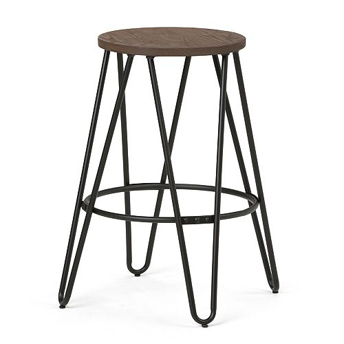 Simeon Industrial Metal 24 inch Counter Height Stool with Solid Wood Seat in Black, Cocoa Brown