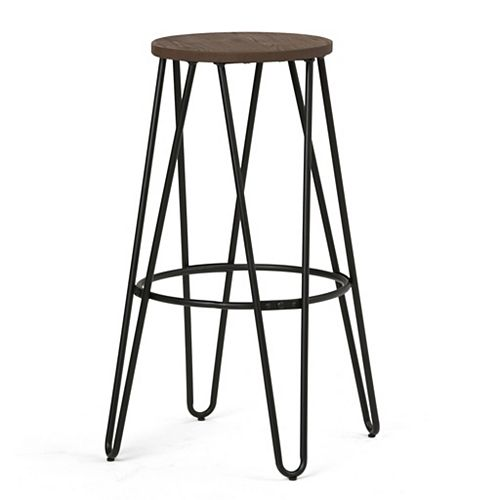 Simeon Industrial Metal 30 inch Bar Stool with Solid Wood Seat in Black, Cocoa Brown