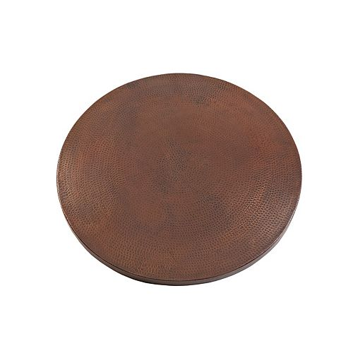 24 in. Round Hand Hammered Copper Table Top in Oil Rubbed Bronze