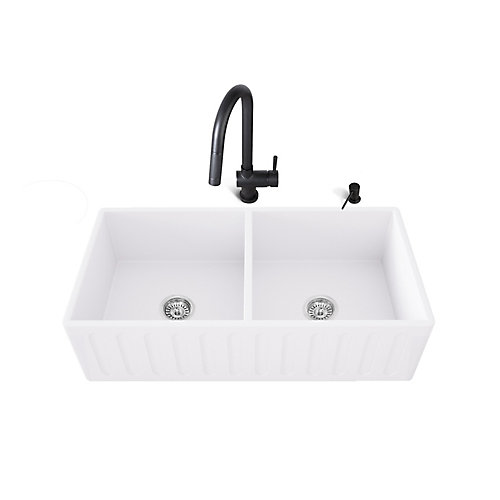 All-in-One Farmhouse Matte Stone 33in Double Bowl Kitchen Sink with Gramercy Faucet in Matte Black