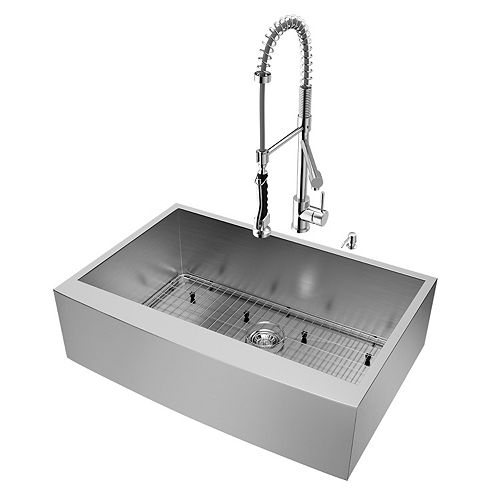 VIGO All-in-One 33 in. Camden Stainless Steel Farmhouse Kitchen Sink with Pull Down Faucet in Chrome