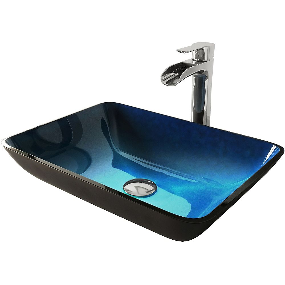 Vigo Glass Vessel Bathroom Sink In Turquoise Water And Niko Faucet Set In Chrome The Home Depot Canada