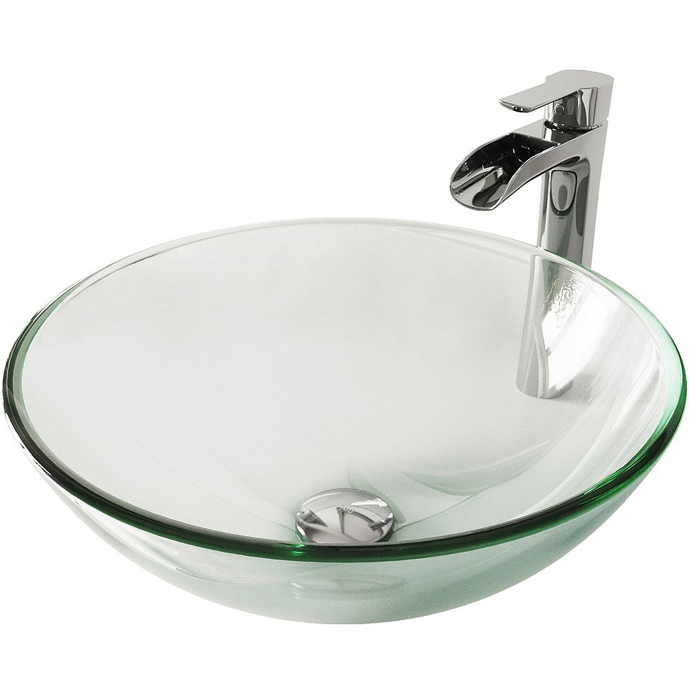 Vigo Glass Round Vessel Bathroom Sink In Iridescent With Niko Faucet And Pop Up Drain In C The Home Depot Canada