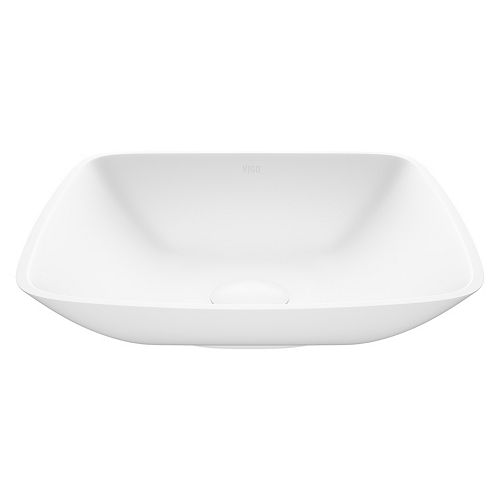 Hyacinth Handmade Countertop White Matte Stone Square Vessel Bathroom Sink in Matte White