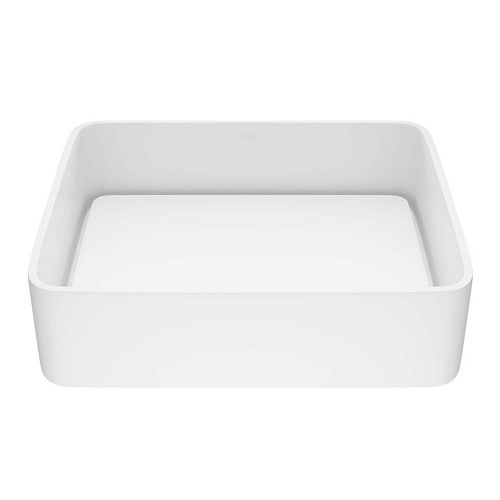 VIGO Jasmine Handmade Countertop Matte Stone Rectangle Vessel Bathroom Sink in Matte White