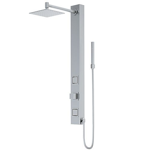 Orchid 39.375 in. High Pressure Shower Panel System with Handheld Dual Shower in Stainless Steel