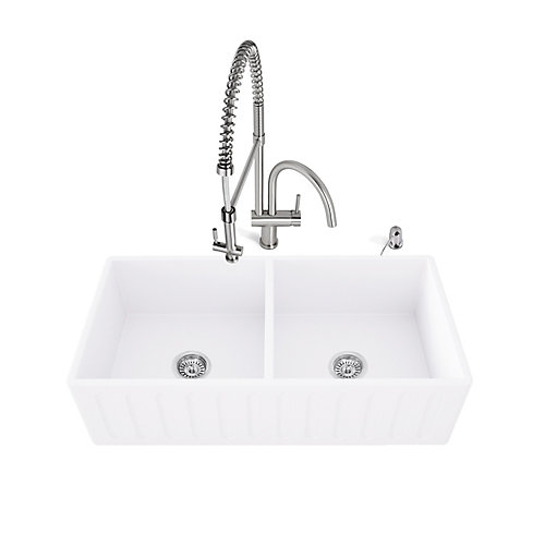 "33"" Matte Stone Double Bowl Farmhouse Sink Set With Dresden Faucet In Stainless Steel"