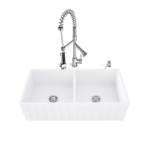 "33"" Matte Stone Double Bowl Farmhouse Sink Set With Zurich Faucet In Stainless Steel"
