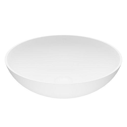 VIGO Lotus Vessel Bathroom Sink in White Matte Stone