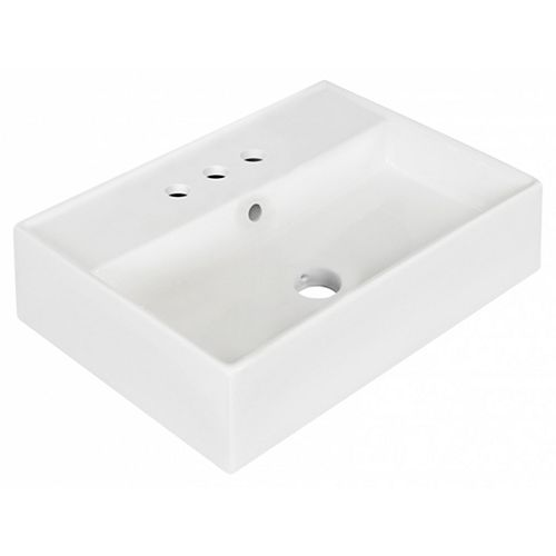 19.75-inch W Wall Mount White Vessel For 3H4-inch Center Drilling