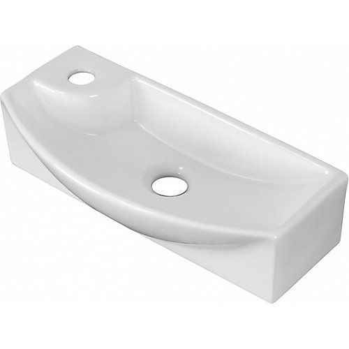 17.75-in. W Wall Mount White Vessel For 1 Hole Left  Drilling