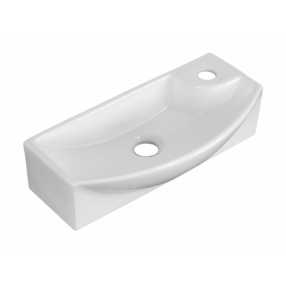American Imaginations 17.75-inch W Above Counter White Vessel For 1 Hole Right Drilling