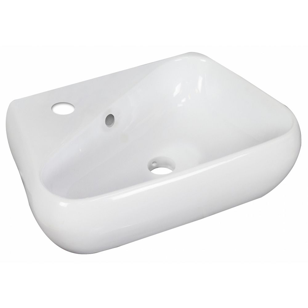 American Imaginations 17.5-inch W Wall Mount White Vessel For 1 Hole Left  Drilling