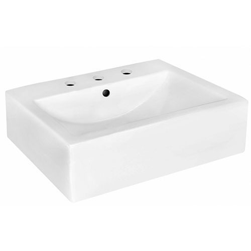 20.25-inch W Wall Mount White Vessel For 3H8-inch Center Drilling