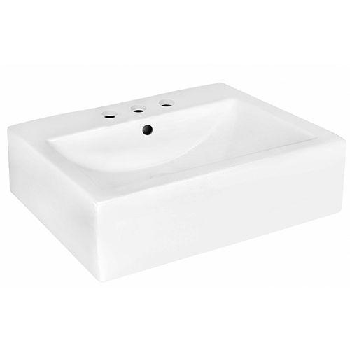 20.25 pouces Vaisselle blanche de mur de W pour 3H4-in. Centre de forage