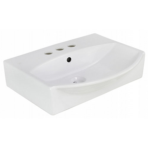 19.5-in. W Wall Mount White Vessel For 3H4-in. Center Drilling