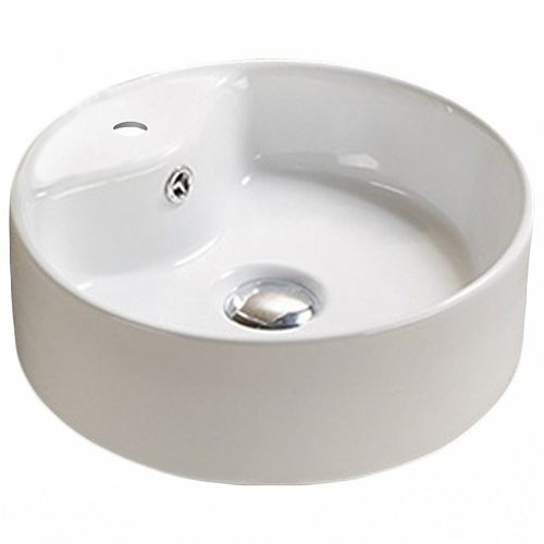 14.4-inch W Above Counter White Vessel For 1 Hole Center Drilling