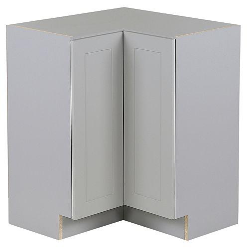 Edson 27 pouces W x 34,5 pouces H x 24,5 pouces D Shaker Style Assemblé Armoire/armoire de base d'angle de cuisine en Taupe Grey avec Lazy Susan (BCCQ36FHLLS)