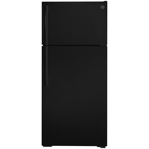 GE 28-inch W 16.6 Cu. ft. Top-Mount No Frost Refrigerator in Black