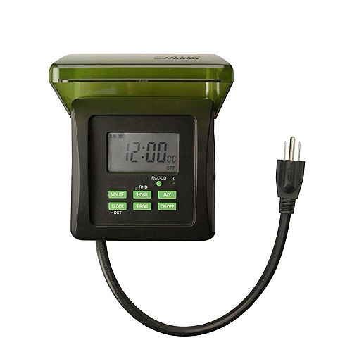 15-Amp 7-Day Outdoor Plug-In Heavy-Duty Dual-Outlet Digital Timer, Black