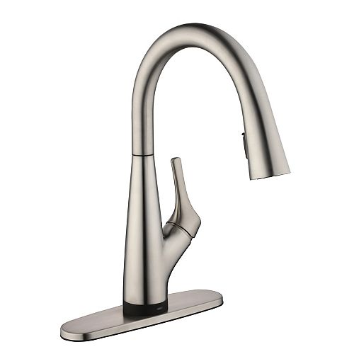 Eagleton Single-Handle Pull-Down Sprayer Kitchen Faucet with Water Filtration in Stainless Steel