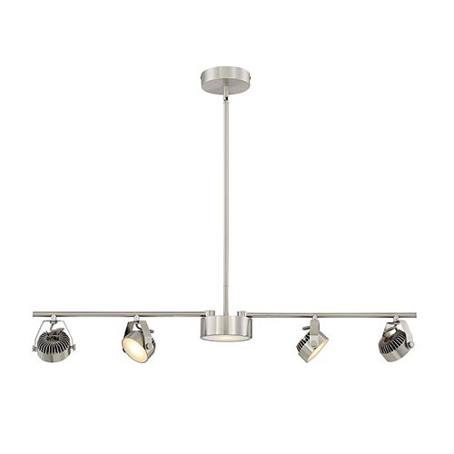 Home Decorators Collection Convertible 4 + 1 Light LED Satin Nickel Fixed Track/ Pendant