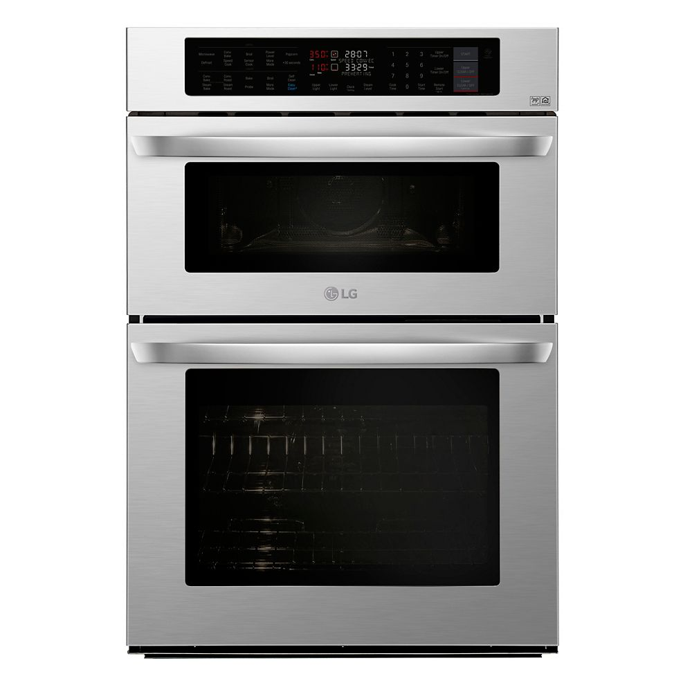 LG Electronics 30-inch 6.4 cu. ft. Smart Combination Double Wall Oven & Microwave with Convection and EasyClean® in Stainless Steel