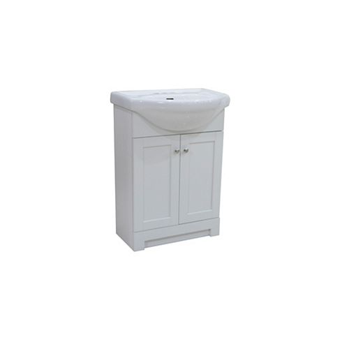 Glacier Bay Clancey 24-inch Vanity in White with White Basin