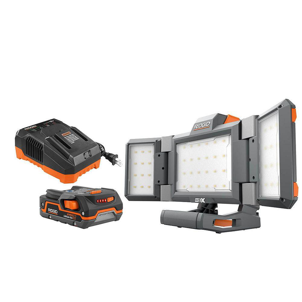 RIDGID 18V Cordless Panel Light Kit with 1.5 Ah Battery and Charger