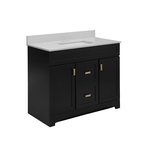 Rocara Black 42-inch W Vanity Combo with Engineered Stone Top