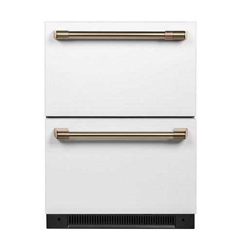5.7 cu. ft. Built-in Undercounter Dual Drawer Refrigerator with  Fingerprint Resistant in Matte White